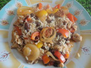 Recette Poélée de riz aux haricots noirs,façon Tex-Mex