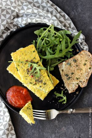 Recette Frittata de courgette et graine de chia, tartine au gomasio