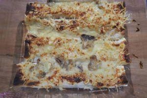 Recette Lavash au jambon ou poulet à la béchamel aux champignons, gratinés