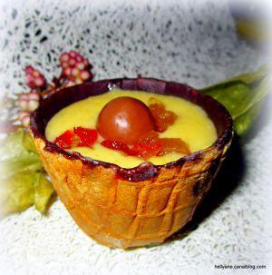 Recette Gaufrette chocolatée garnie de crème pâtissière et de fruits confits