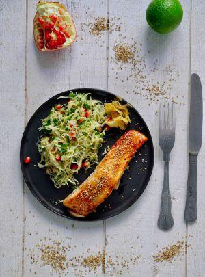 Recette Saumon laqué au miso et salade de chou pointu