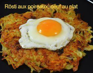 Recette Rösti aux poireaux, œufs au plat