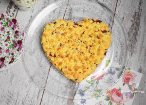 Recette Gâteau crumble rhubarbe framboise