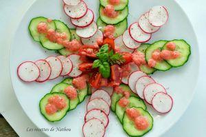 Recette Carpaccio de radis et concombre, vinaigrette rose