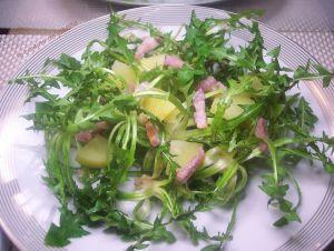 Recette Salade de pissenlits aux pommes de terre/lardons