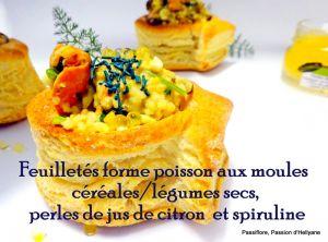 Recette Bouchée forme poisson, garnie de moules en sauce/ légumes /céréales/ perles de jus de citron et spiruline
