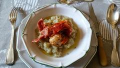 Recette Coquilles St. Jacques et jambon San Daniele sur purée de topinambours