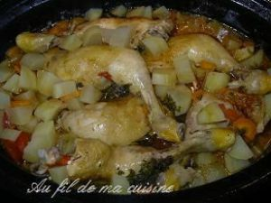 Recette Cuisses de poulet aux légumes