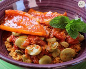 Recette Couscous aux fèves et aux poivrons