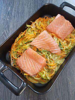 Recette Spaghettis de légumes et saumon au four
