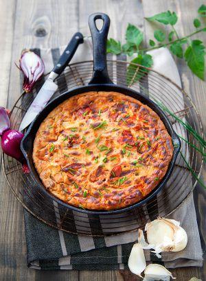 Recette Frittata vegan aux tomates, oignon et ciboulette