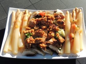 Recette Salade d'asperges, champignons et nuggets de poulet
