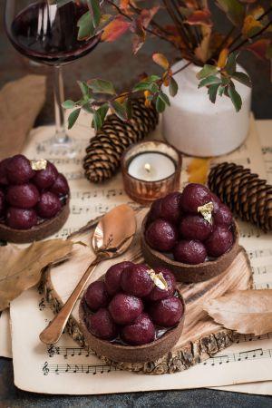 Recette Tartelettes au chocolat, poires au vin