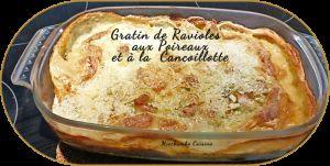 Recette Gratin de ravioles aux poireaux et à la cancoillotte