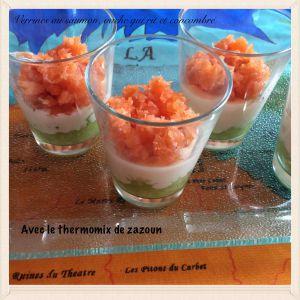 Recette Verrines rafraîchissantes concombre, saumon, Vache qui rit Thermomix ou autre robot