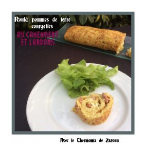 Recette Roulé de pommes de terre, courgettes au camembert et lardons Thermomix Ou autre robot simple pour râper