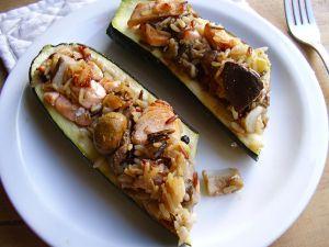 Recette Courgette farcie au risotto 3 couleurs de saumon mariné