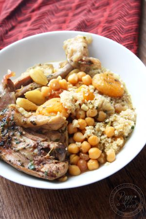 Recette Tajine de poulet, abricots, amande, et raisins secs