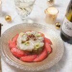 Recette Tartare de noix de Saint Jacques aux pamplemousses roses, avocats et pommes vertes