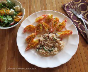 Recette Langoustines au beurre de fleur d'ail, enrobage craquant +