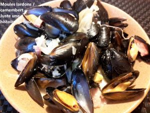Recette Moules lardons / camembert