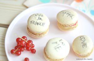 Recette Macarons chocolat Dulcey et groseilles
