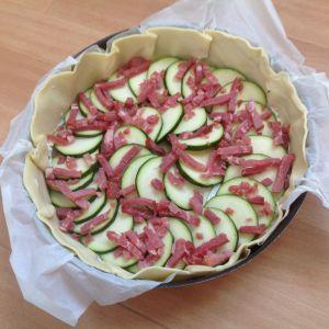Recette Tarte courgette-chevre-lardons