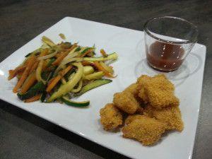 Recette Nuggets de poulet maison et Poêlée de légumes