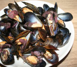 Recette Moules marinières...au vin rouge