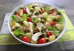 Recette Salade de pommes de terre et poulet aux olives