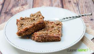Recette Carrés rhubarbe et fraise sans sucre blanc, sans gluten ni lactose
