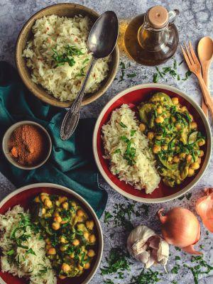 Recette Courgettes et pois chiches au curry