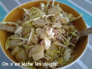 Recette Salade Paysanne:pommes de terre, lardons, oeufs durs et pissenlits