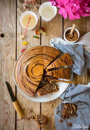 Recette Gâteau zébré ou Zebra cake chocolat-noisettes