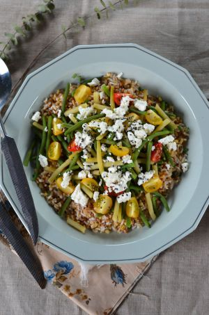 Recette Salade de haricots verts, haricots beurres et céréales