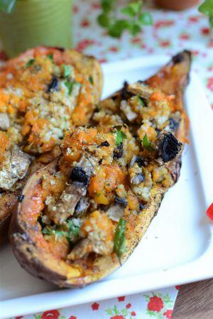Recette Patate douce au  four champignons et millet #végétarien