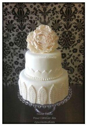 Recette Gâteau mariage, décoration en pâte à sucre