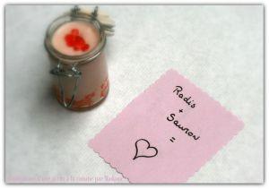 Recette Verrine toute rose: Crème de radis au chèvre et saumon fumé