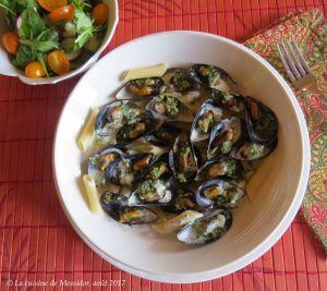 Recette Moules au pesto provençal, sauce crémeuse au parmesan +