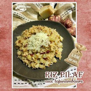 Recette Riz pilaf aux topinambours, tomates confites & parmesan - Challenge Fins de Mois Difficiles #FDMD10