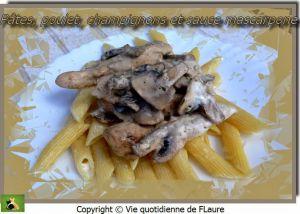 Recette Pâtes, poulet, champignons et sauce mascarpone