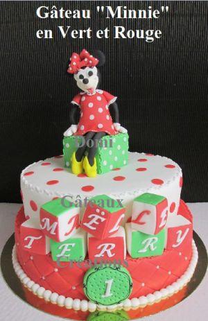 """Recette Gâteau """"Minnie"""" Vert et Rouge en Pâte à Sucre"""