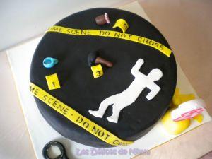 Recette Gâteau Scène de Crime (pâte à sucre)