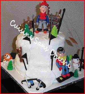 Recette Gâteau pâte à sucre. Thème le skis