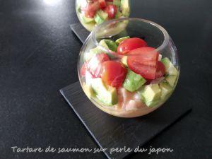 Recette Tartare de saumon sur perles du japon
