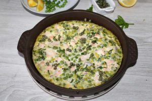 Recette Frittata de saumon et petits pois