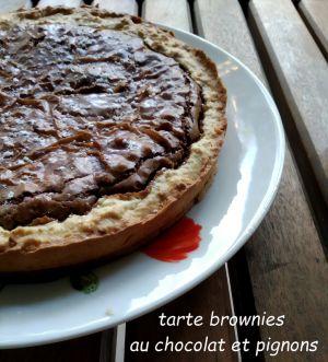 Recette Tarte brownies au chocolat et pignons