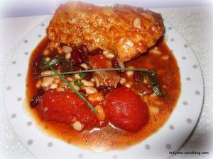 """Recette Rouelle de porc aux haricots """"rouges et blancs"""" - chorizo, à la sauce tomate + bière gingembre"""