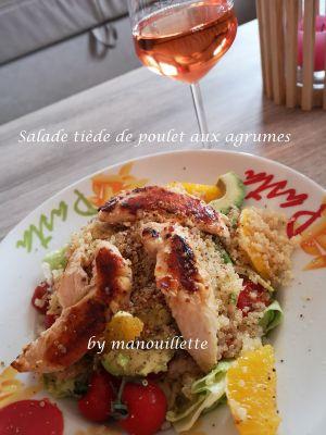 Recette Salade tiède de poulet aux agrumes