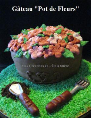 """Recette Gâteau """"Pot de Fleurs"""" en Pâte à Sucre"""